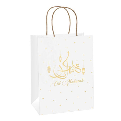 Eid Mubarak -  Gold Gift Bag (white kraft eco bag)