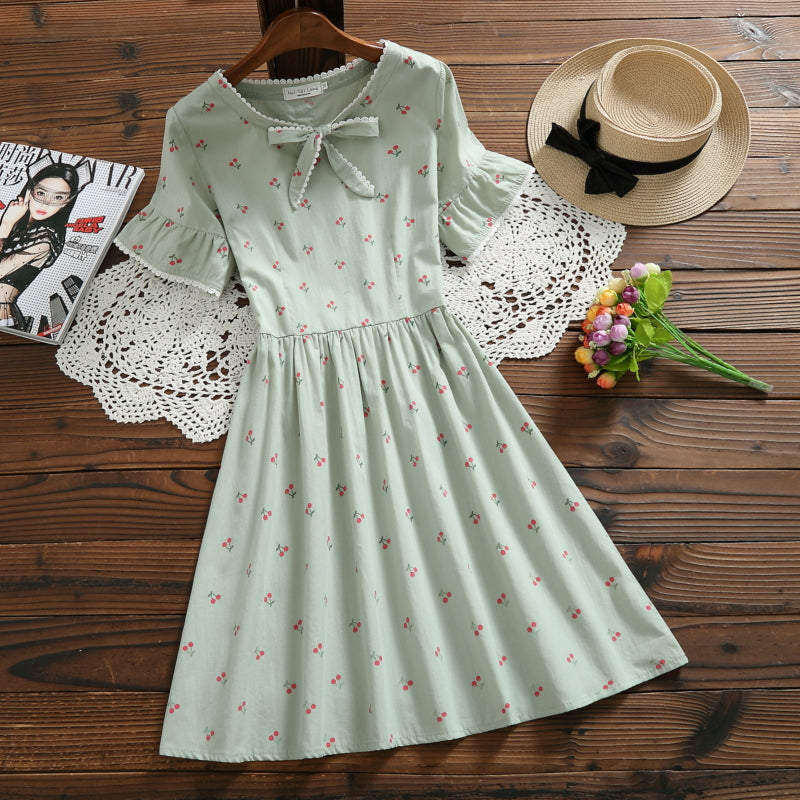 Japanese Kawaii Bow Dress with Cherries