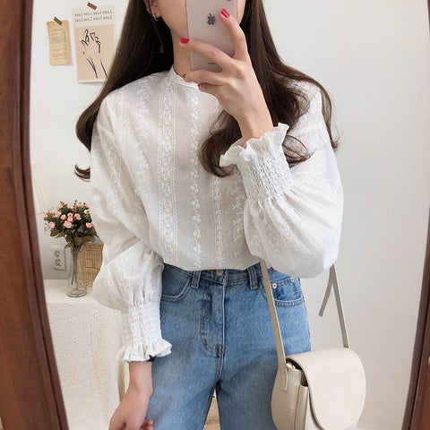 Long Sleeve Embroidery Lace Shirt