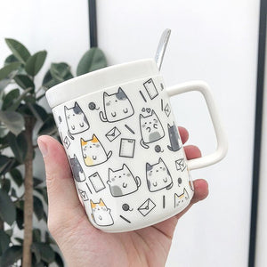 Adorable Kawaii Cat Cup with Lid & Spoon