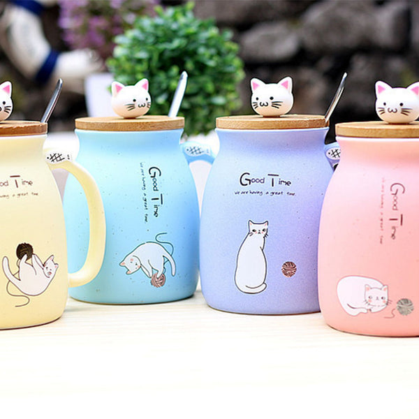 Kawai Cat Cup with Lid & Spoon