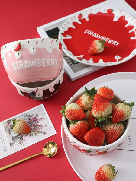Kawaii Strawberry Ice Cream Bowls & Mugs
