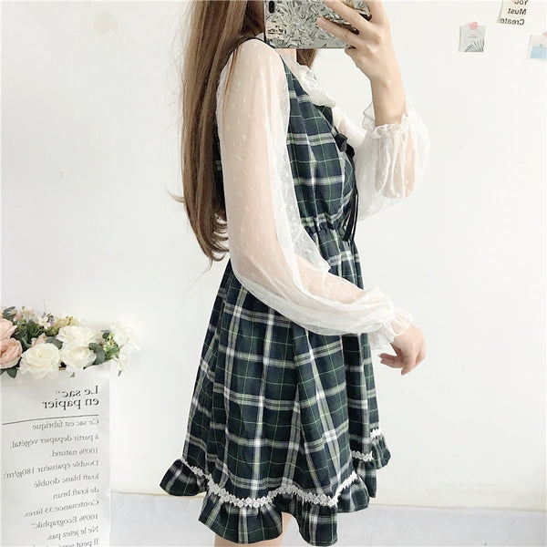 Kawaii Preppy Plaid Sundress