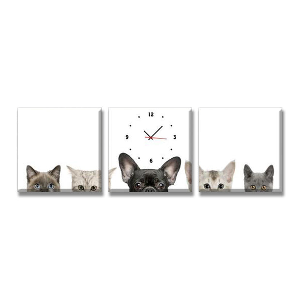 3 Panel Print Cats And Dogs Clock Wall Art