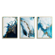 3 Pieces Golden Blue Splash
