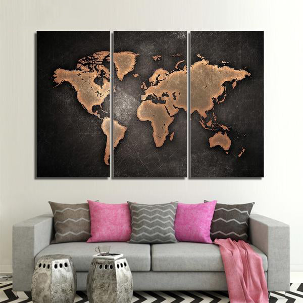 3 Panel Rustic World Map
