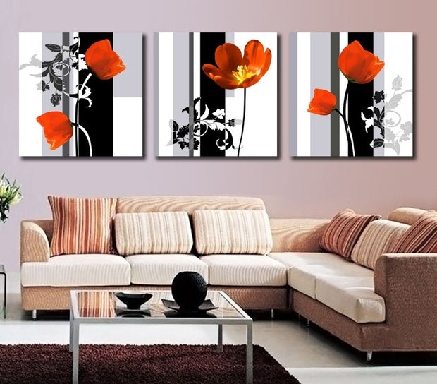 3 Panels Flower Painting