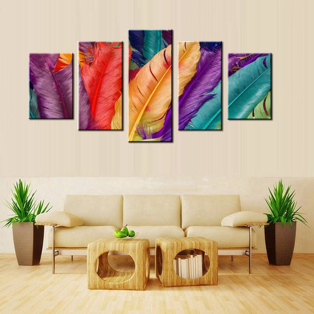 5 Panels Colorful Feathers Wall Art
