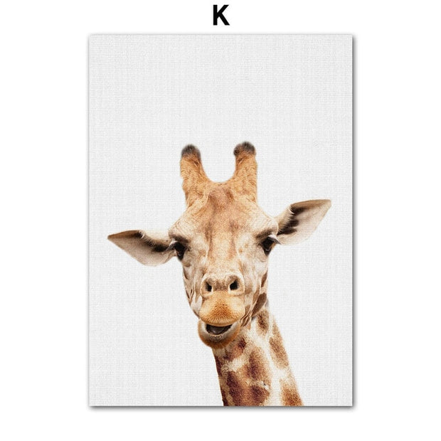 Zoo Animals Wall Art Canvas