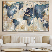 3 Panel Vintage World Map Wall Art