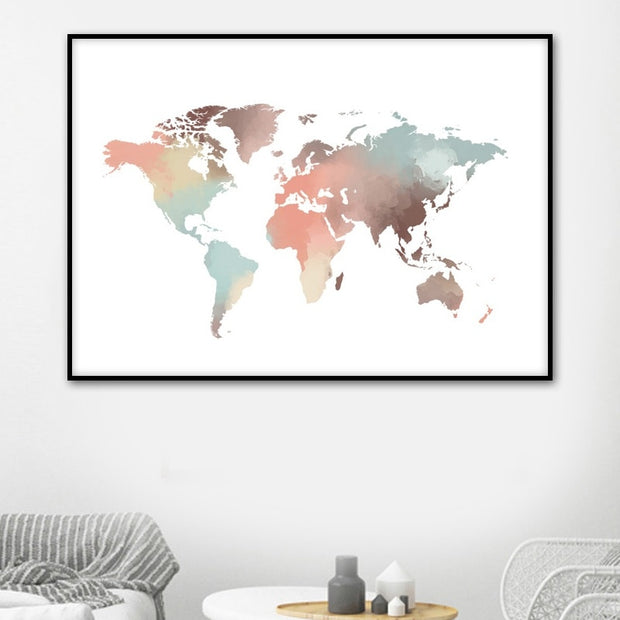 Watercolor World Map Wall Art