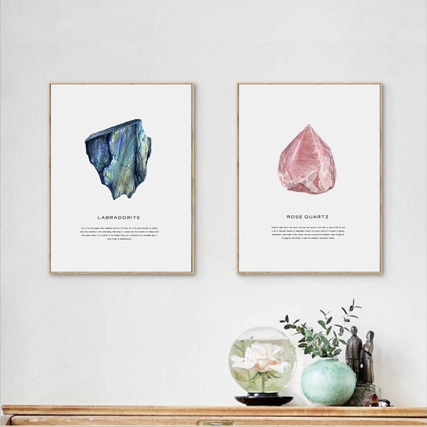 Watercolor Crystals Geode Art Canvas Wall Art