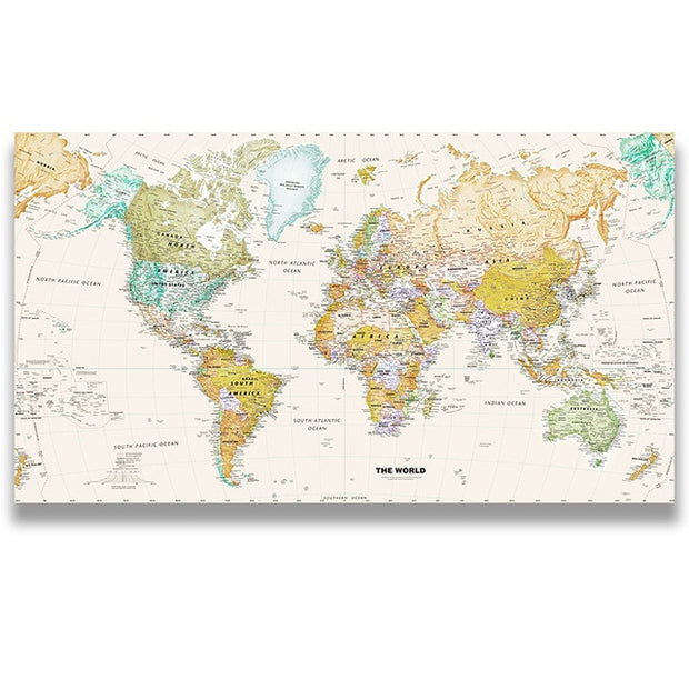 Classic Vintage World Map Wall Art