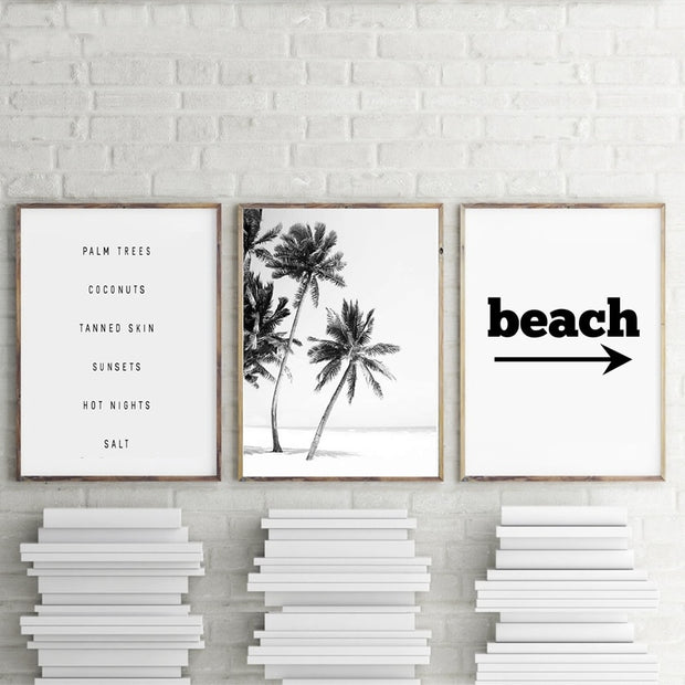 3 Pieces Black And White Palm Trees Beach House