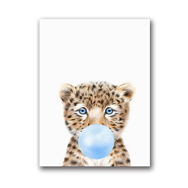 Wild Animal Blowing Bubble Gum Wall Art