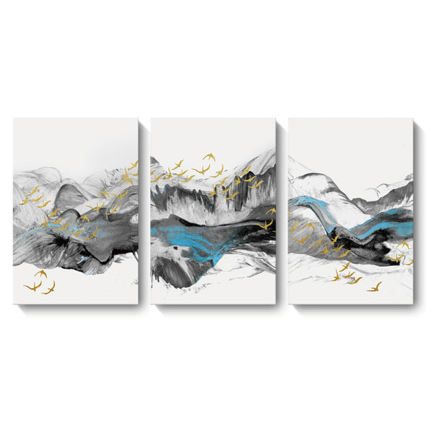 3 Panels Chinese Blue Landscape Abstract