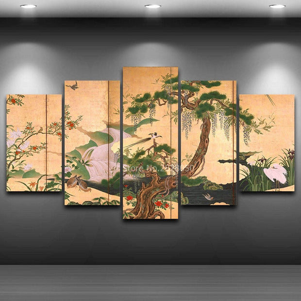 5 Panel Ancient Chinese Traditional Paintings