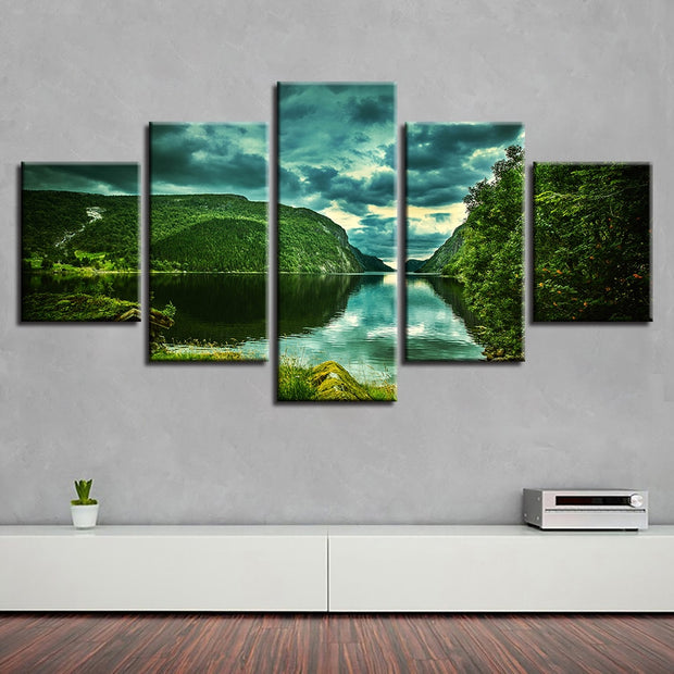 5 Panels Green Mountain and Water Natural Landscape