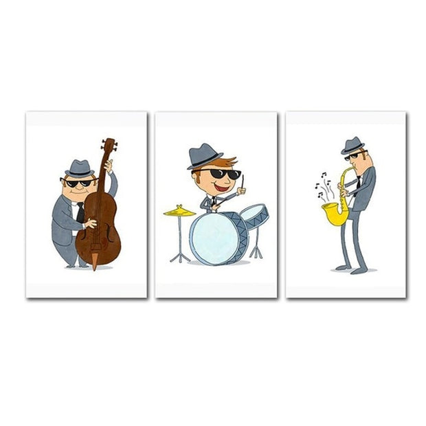 3 Pieces Jazz Band Playing Music Canvas