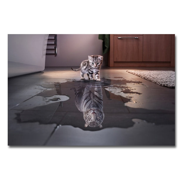Tiger's Reflection Wall Art