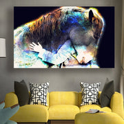 Horse And Girls Painting Wall Art