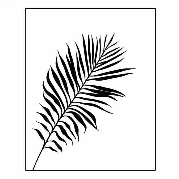 3 Pieces Black & White Palm Tree Leaves