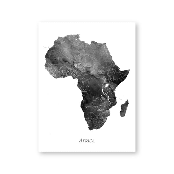 Black Watercolor Africa Map