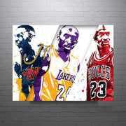 Lebron James Michael Jordan and Kobe Bryant Wall Art