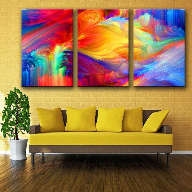 3 Panel Rainbow Abstract