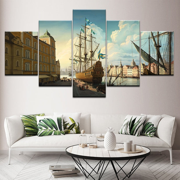 5 Panels European Harbor