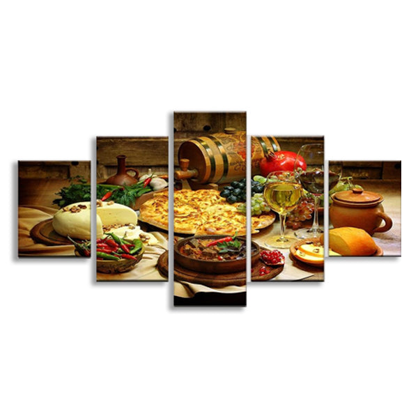 5 Pieces Food And Drinks Printed Canvas