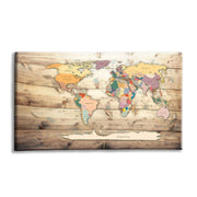 World Map Wooden Background Canvas