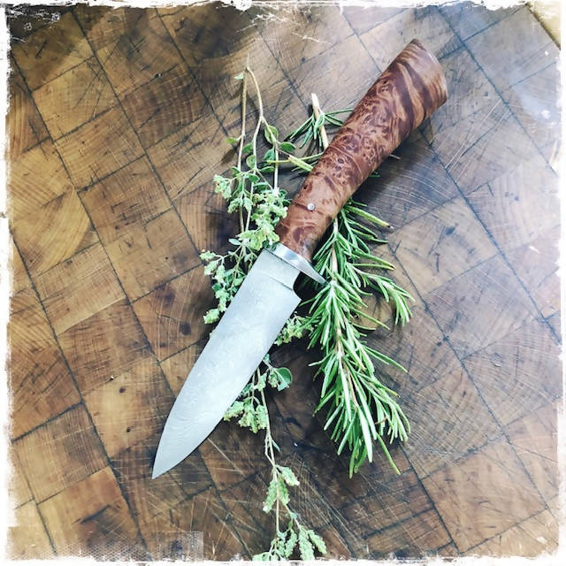 Damascus Drop Point Knife - Bushcraft, Hunting