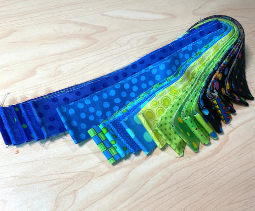 "20  x  1 1/2"" strips in watery colours"