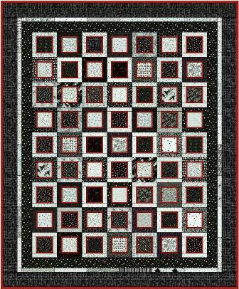 Black, White and Red All Over Quilt Pattern
