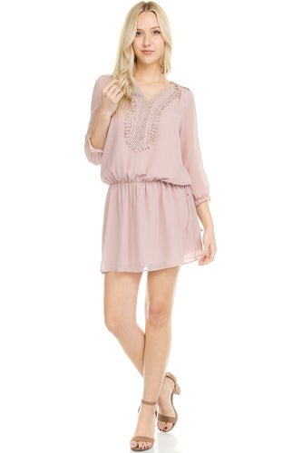 Women's Three Quarter Sleeve Crochet Tie Dress