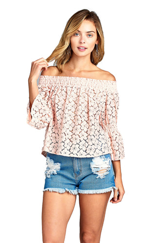 Women's  Three Quarter Long Sleeve Off Shoulder Floral Lace Top
