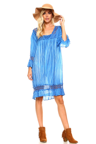 Women's Three Quarter Sleeved Crochet Tunic Dress