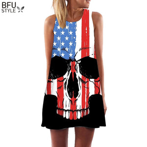 US Flag Skull Print Sleeveless Dress