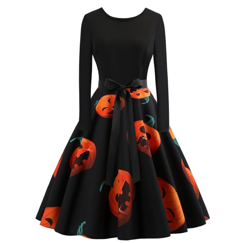 Halloween Pumpkins Print Dress