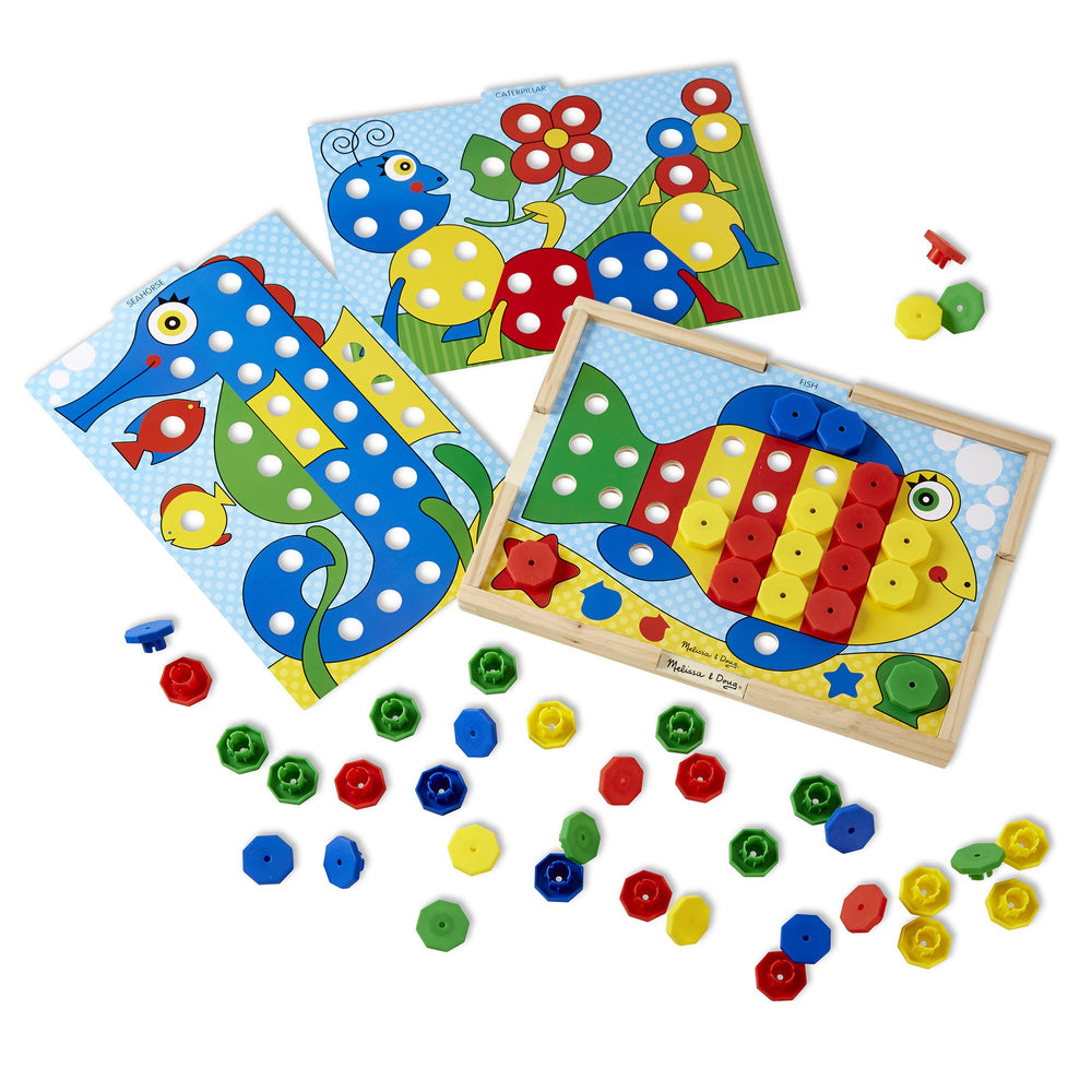Melissa & Doug sort & snap color match zeepaard vis en rups