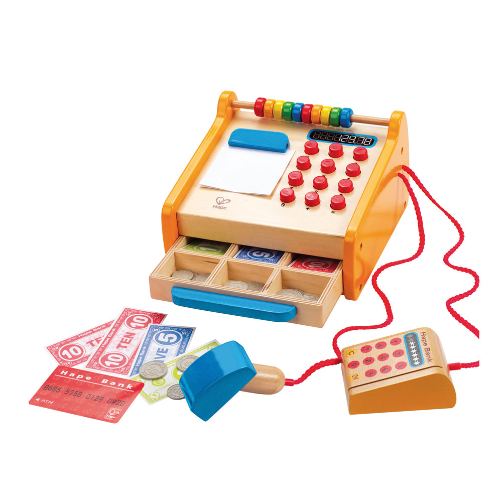 Hape houten kassa checkout register