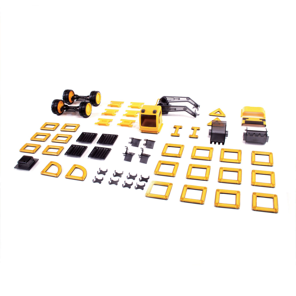 inhoud van de Guidecraft PowerClix construction vehicle set