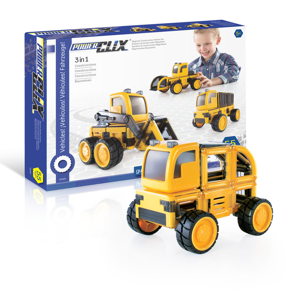 Guidecraft PowerClix construction vehicle set verpakking