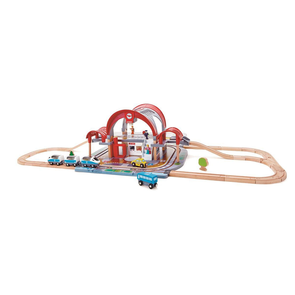 Hape Grand City station houten treinset
