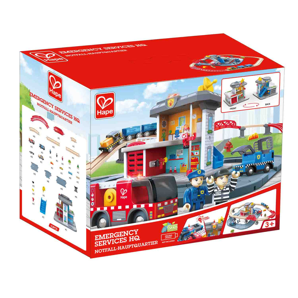 Hape Emergency Services HQ houten treinset
