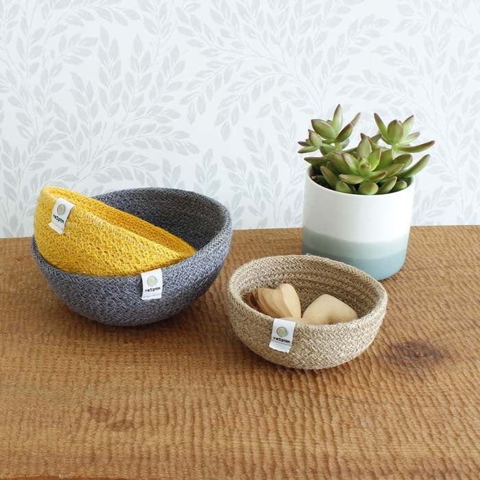 ReSpiin Jute Mini Bowl Set Beach als opberger