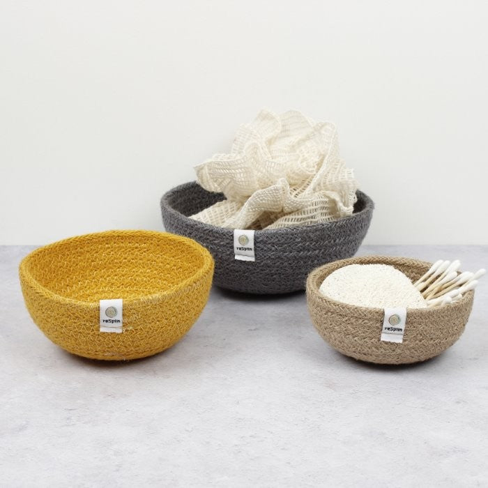 ReSpiin Jute Mini Bowl Set Beach als opberger in de badkamer