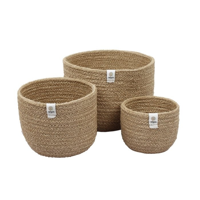 ReSpiin Tall Jute Basket Set Natural