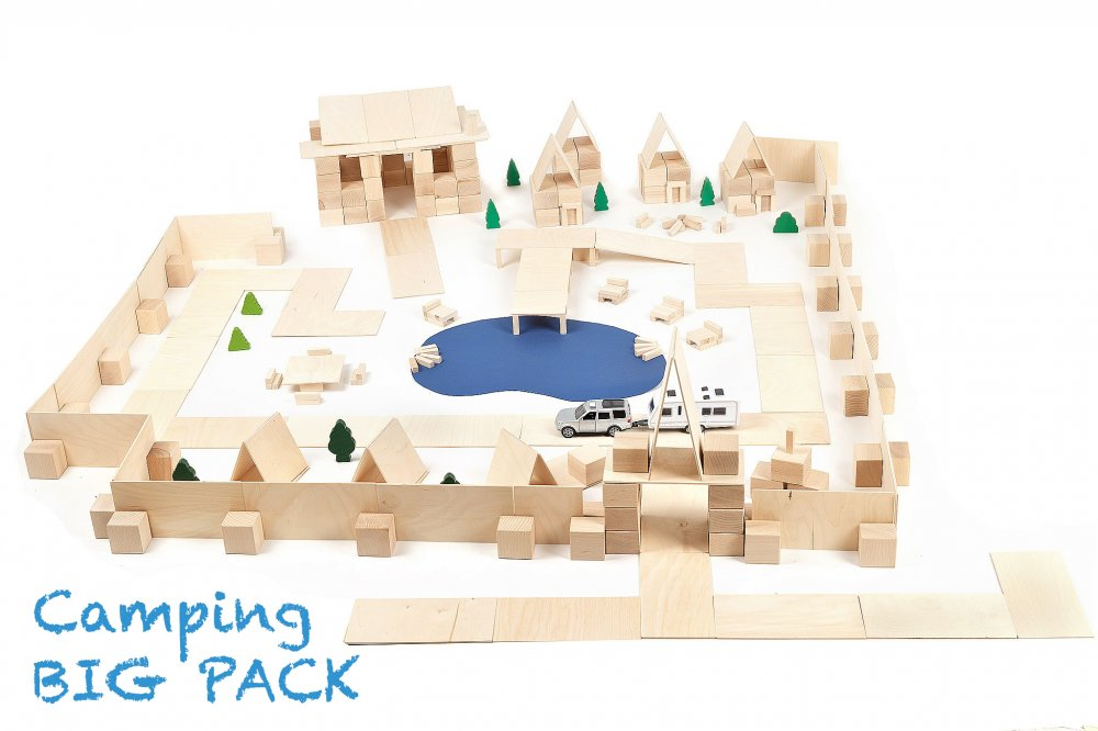 Just Blocks houten blokken big pack 336 blokken camping